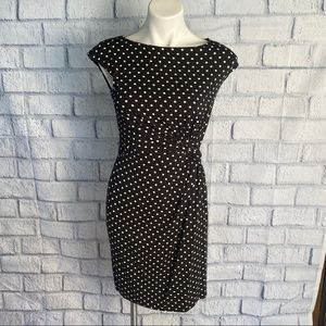 Merona Dress Black White Dot Ruched Front Dress